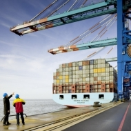 Deutsche Post DHL: DHL Global Forwarding Mitarbeiter im Container-Hafen